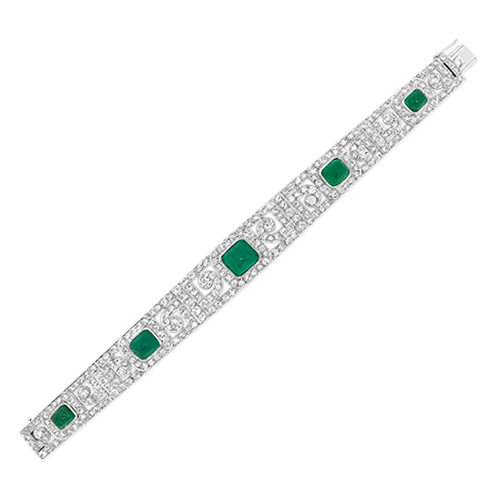 Emerald & Diamond Art Deco Bracelet