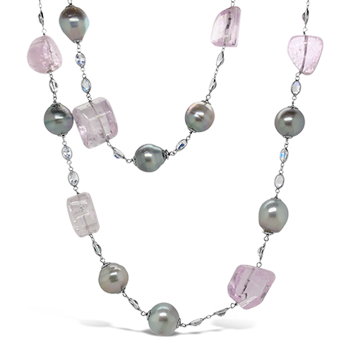 Tahitian Pearl, Kunzite & Moonstone Necklace