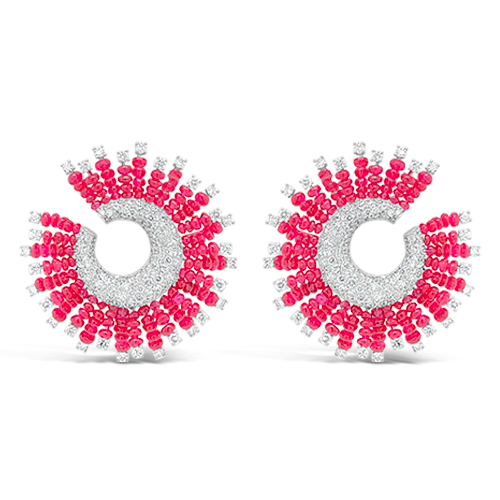 Red Spinel & Diamond Pinwheel Earrings