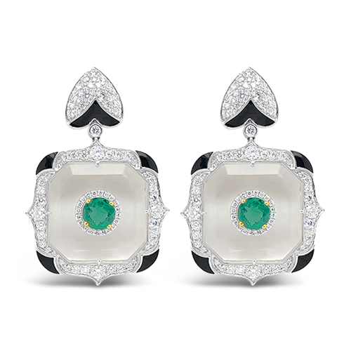 Crystal, Emerald & Diamond Earrings
