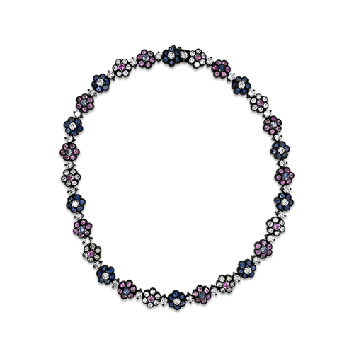 Multi-color Sapphire & Diamond Necklace