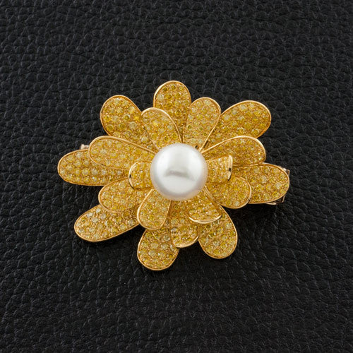 Yellow Diamond & Pearl Estate Flower Pin