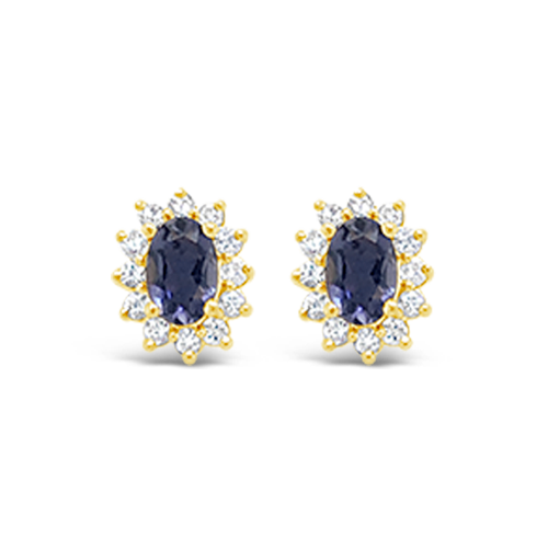 Iolite & Diamond Earrings