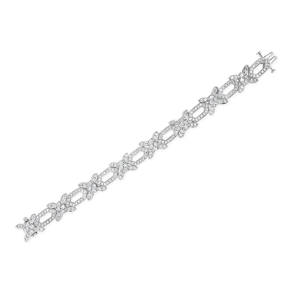 Diamond Floral Motif Estate Bracelet