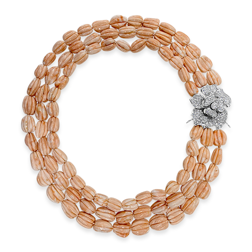 Angel Skin Coral & Diamond Necklace