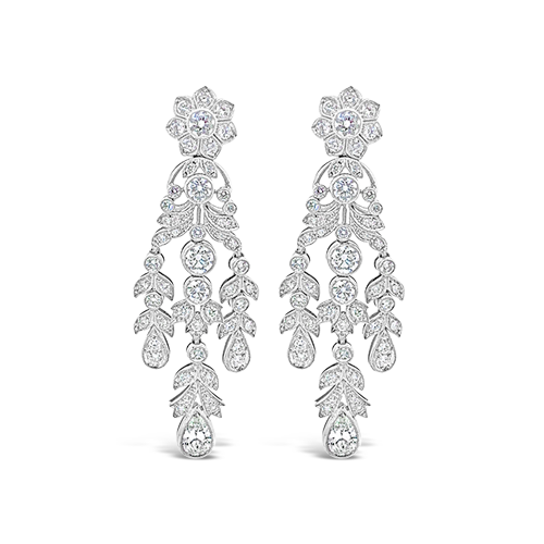 Diamond Dangle Flower and Leaves Earrings