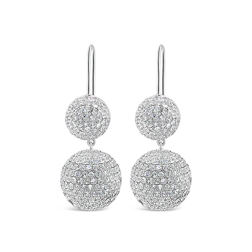 White Sapphire Double Ball Earrings