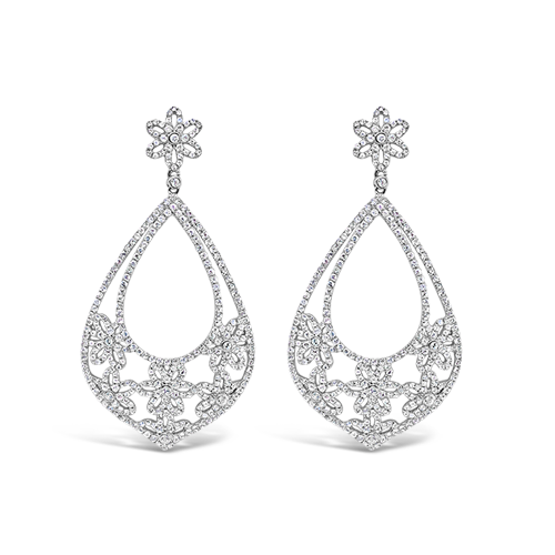White Sapphire Chandelier Earrings
