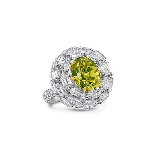 Green-Yellow Diamond Ring