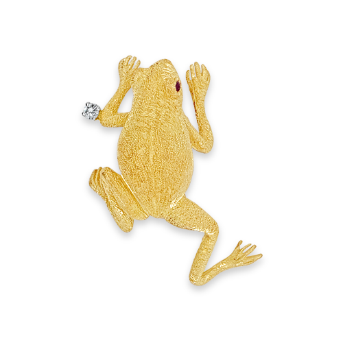 Frog Estate Pin with Diamond