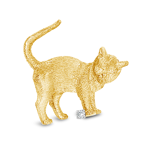 Gold & Diamond Estate Kitten Pin