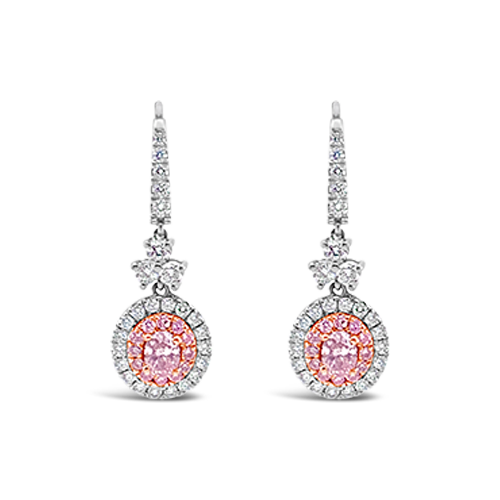 Pink Diamond Dangle Earrings