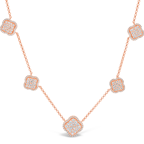 Five Flower Diamond Necklace