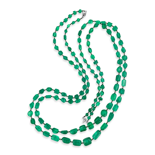 Emerald Bead & Diamond Necklace