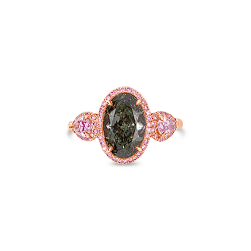 Green & Pink Diamond Ring