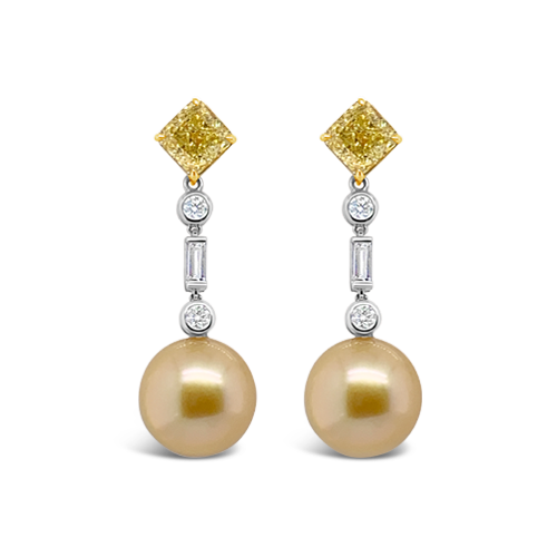 Golden Pearl & Diamond Earrings