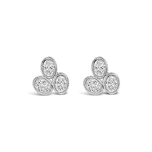 Triple Oval Diamond Earrings