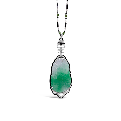 Jade, Diamond & Onyx Necklace