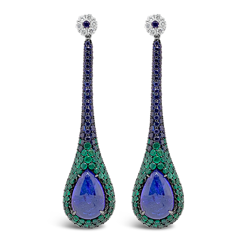 Sapphire, Emerald & Diamond Dangle Earrings