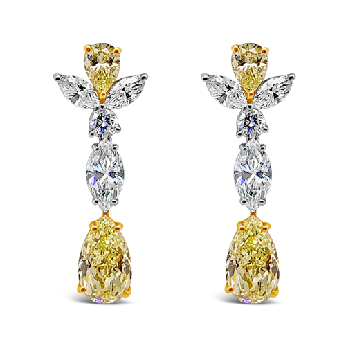 Yellow Diamond Dangle Estate Earrings