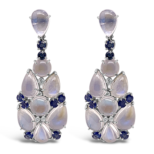 Moonstone, Sapphire & Diamond Estate Earrings