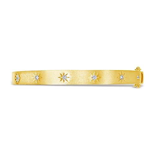 Diamond Sunburst Bangle Bracelet