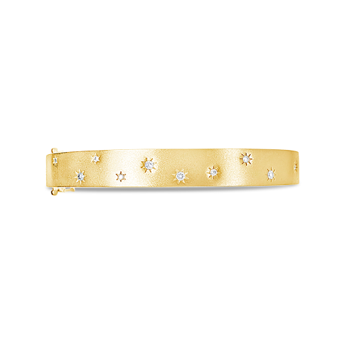Bangle Bracelet with Scattered Diamond Sunbursts