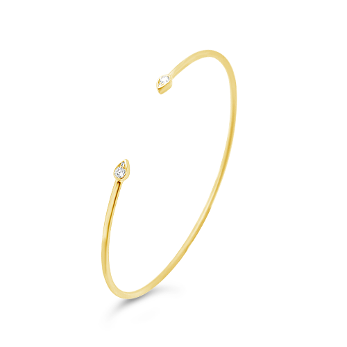 Yellow Gold & Diamond Teardrop Bangle Bracelet