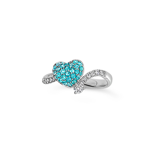 Paraiba & Diamond Heart Ring