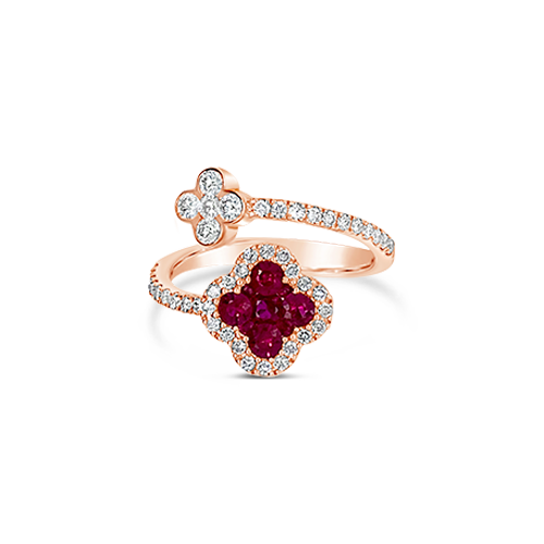 Ruby & Diamond Clover Bypass Ring