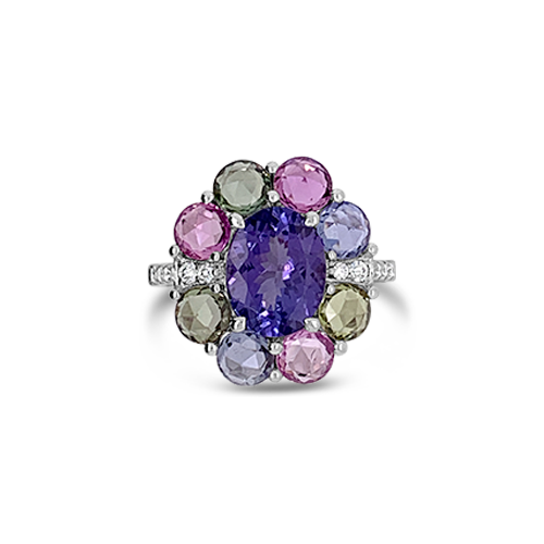 Tanzanite, Diamond & Multi-color Sapphire Ring