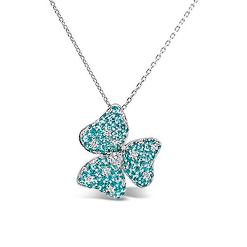 Paraiba & Diamond Flower Pendant