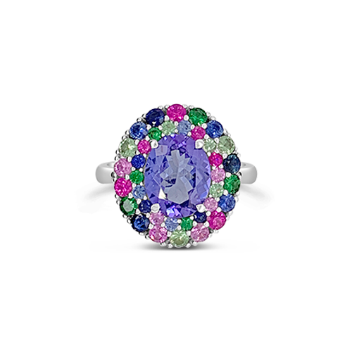 Tanzanite & Multi-color Sapphire Ring