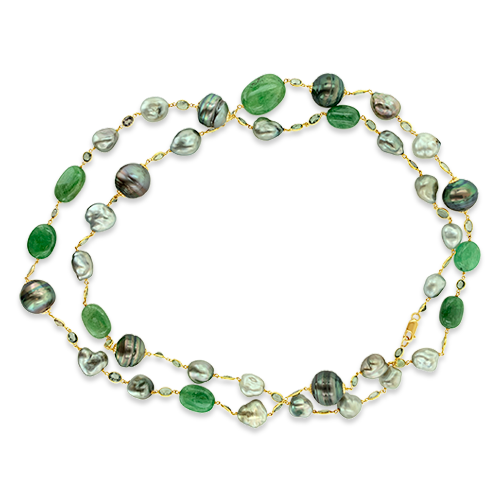 Pearl & Green Sapphire Necklace