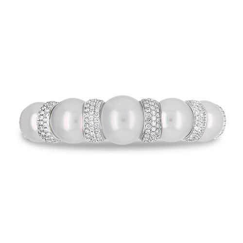 South Sea Pearl & Diamond Cuff Bracelet