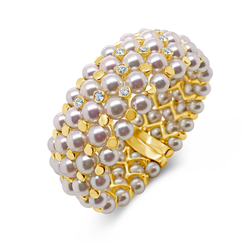 Pearl & Diamond Bangle Bracelet
