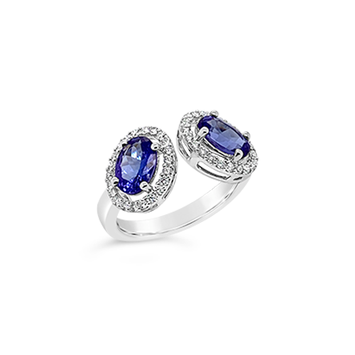 Double Tanzanite & Diamond Ring