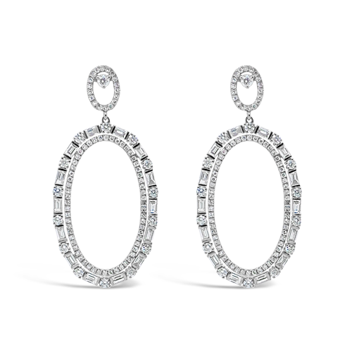 Diamond Dangle Earrings in Oval Shape