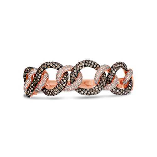 Brown & White Diamond Bangle Bracelet
