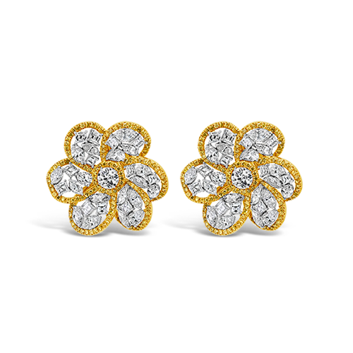 Yellow & White Diamond Flower Earrings