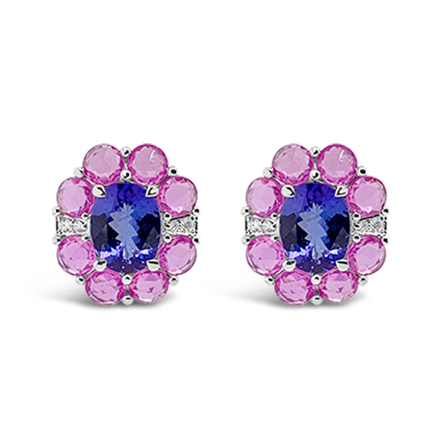 Tanzanite, Pink Sapphire & Diamond Earrings