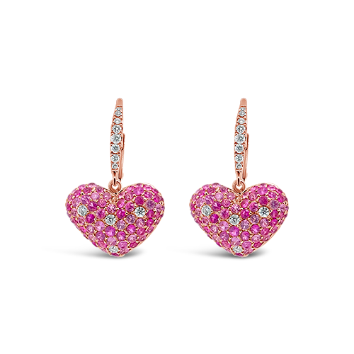 Pink Sapphire & Diamond Heart Earrings