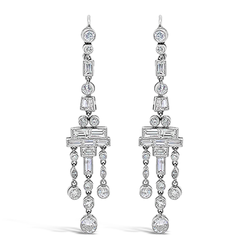 Diamond Dangle Deco Style Earrings