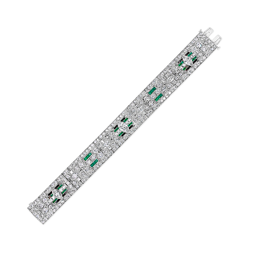 Emerald & Diamond Art Deco Estate Bracelet