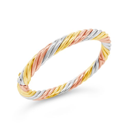 Tri-color Gold Twisted Bangle Bracelet