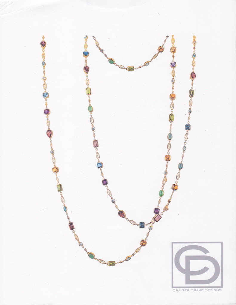 Multi-color Gemstone Necklace