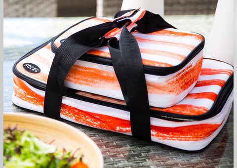 Jack+Jules Social insulated Dish and food Carrier in sunset orange