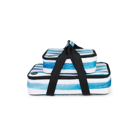 Insulated social dish carrier set in reef blue stripe