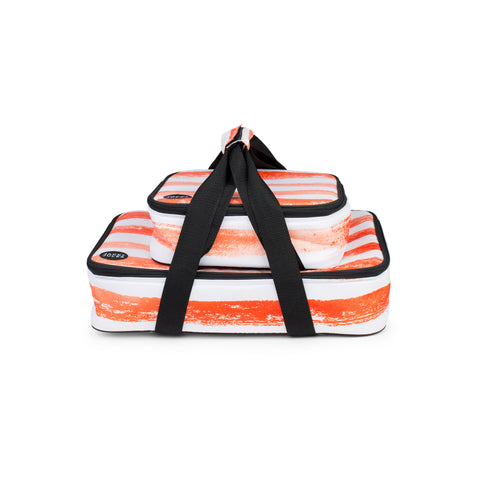 Insulated social dish carrier set in sunset orange stripe