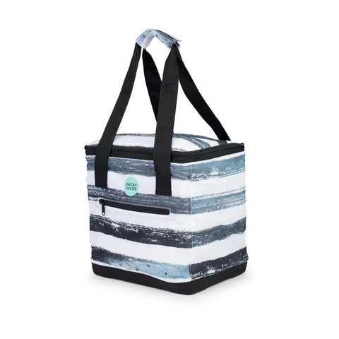 Lightweight essential insulated cooler bag in grey stripe